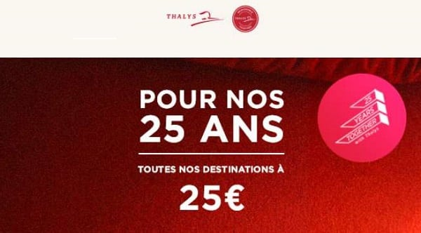 promo 25 ans du thalys toutes les destinations à 25€