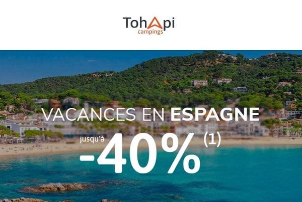 Réduction sur les vacances en camping en Espagne de Tohapi