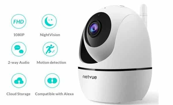 caméra de surveillance rotative wi fi 1080p netvue