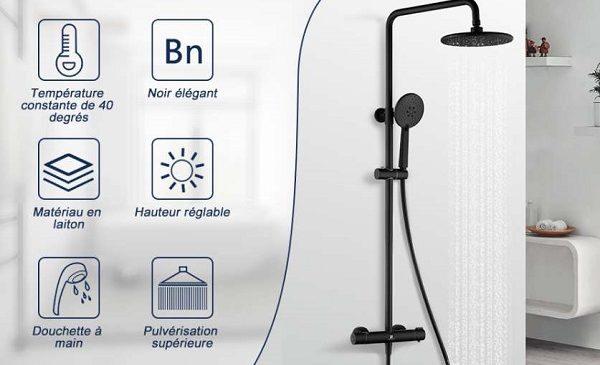 colonne de douche thermostatique noire avec hauteur réglable et douchette 3 jets homelody