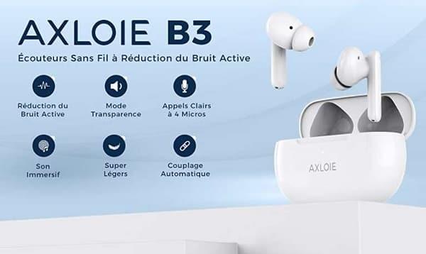 écouteurs sans fils bluetooth axloie b3 type airpods usb c