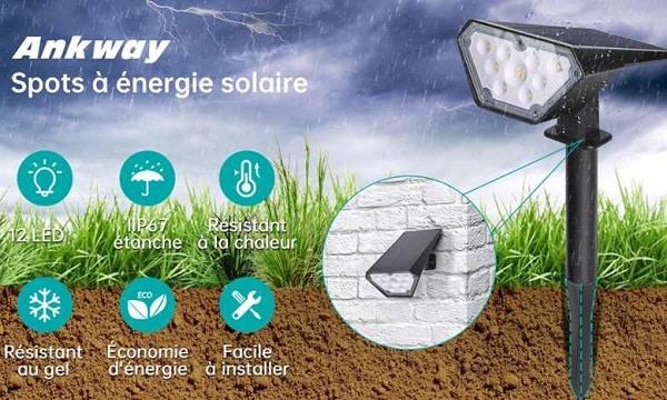 lot de 2 projecteurs solaire d'extérieur ankway