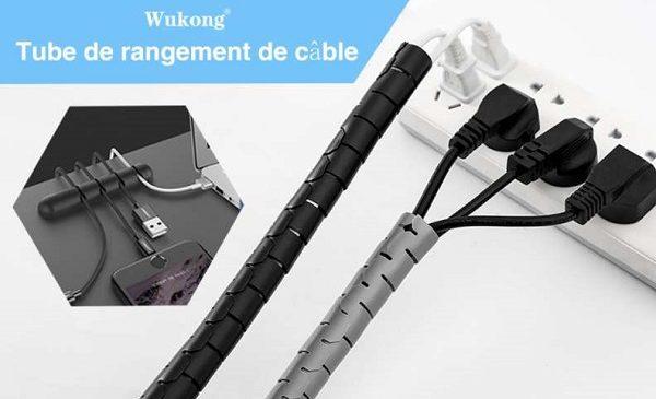 lot de tubes de rangement de câbles et clips wukong