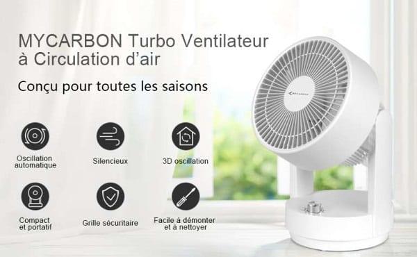 petit et puissant ventilateur oscillant mycarbon 35w