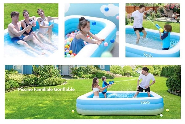 piscine rectangulaire gonflable xl 3 boudins sable