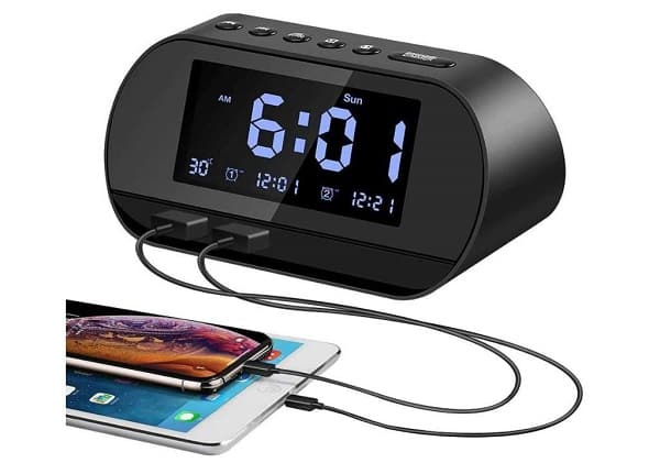 radio réveil avec double alarme, température, deux port usb de charge aitsite t2 pro