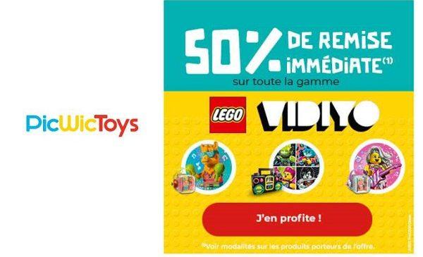 50% de remise immédiate sur toute la gamme LEGO VIDIYO