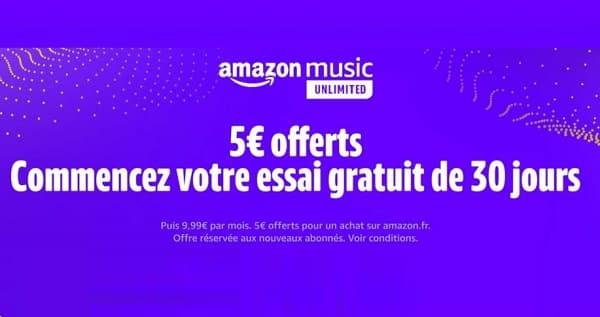 Amazon Music Unlimited : 30 jours d'essai gratuit + bon de réduction de 5€ offert