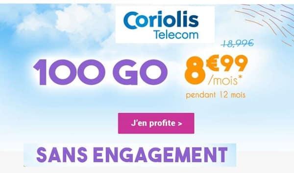 Promotion Forfait Coriolis 100Go au tarif de 8,99€