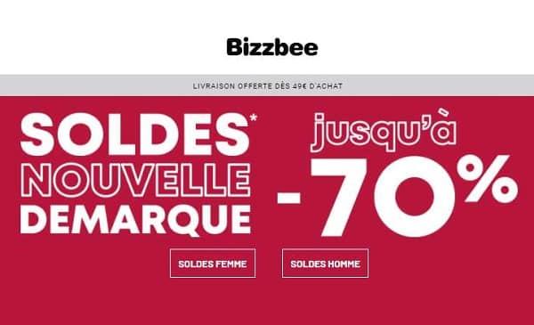 Soldes Bizzbee = nouvelle vague de remise jusqu'à -70% maintenant