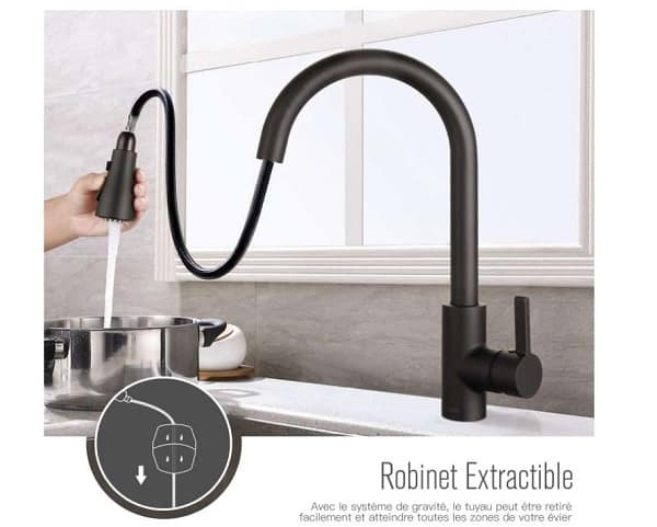 robinet de cuisine noir avec douchette extractible DALMO