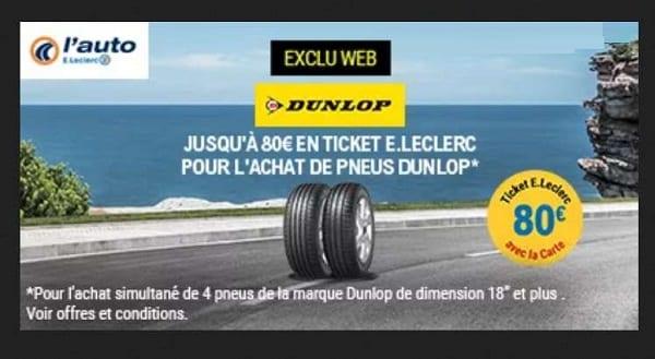 ticket Leclerc pour l'achat de pneus Dunlop - Auto E. Leclerc