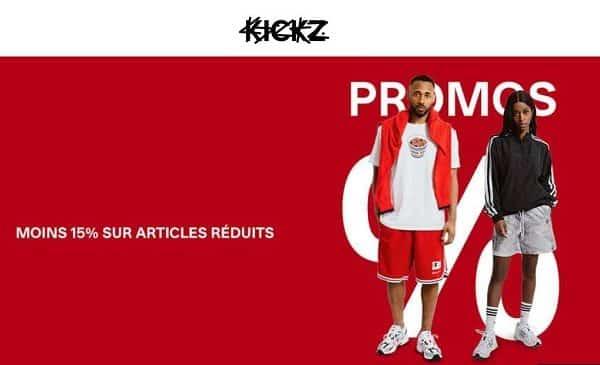 15% de réduction sur les produits déjà démarqués sur KICKZ