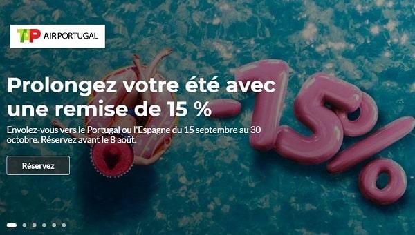 15% de remise sur les billets d'avion tap vers le portugal ou l'espagne du 15 septembre au 30 octobre