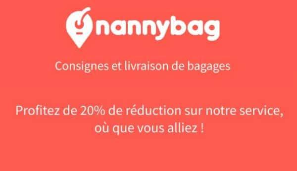 20% de réduction sur nannybag consigne à bagages dans plus de 500 villes
