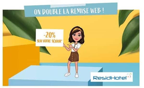 20% de remise pour tous vos séjours jusqu'au 31 octobre chez residhotel