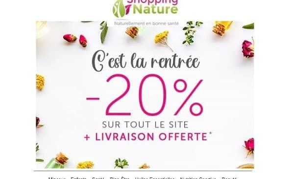 20% de remise sur shopping nature