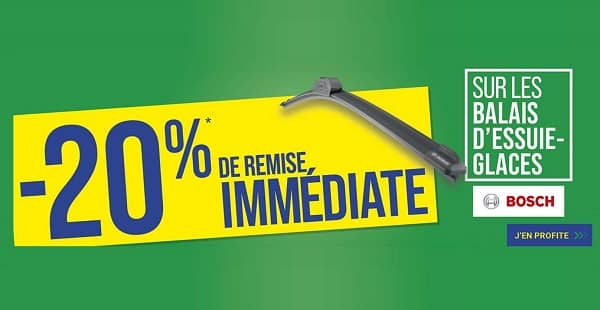 20% de remise sur les balais d'essuie glaces bosch avec la pose est incluse chez euromaster