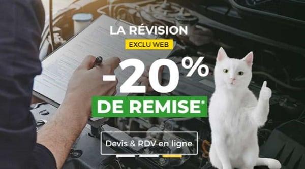 20% remise immédiate sur la révision auto chez feu vert