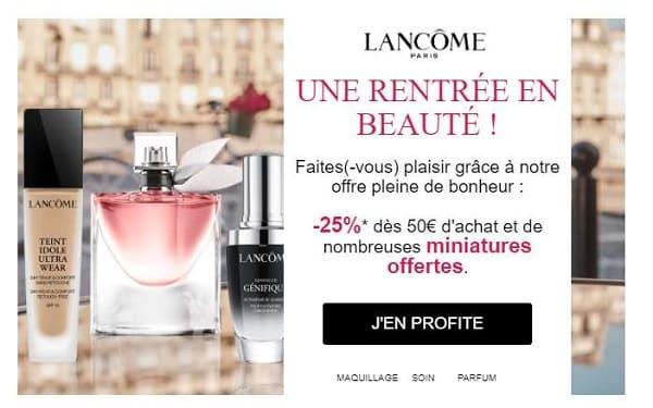 25% de reduction sur la boutique en ligne lancôme