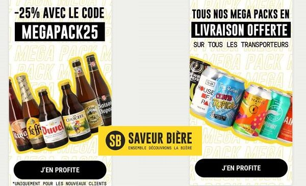 25% de remise sur tous les méga pack de 24 bières sur saveur bière