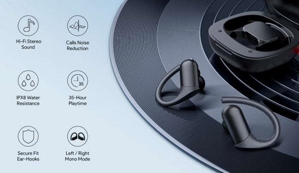 Écouteurs intra auriculaires bluetooth avec crochets d'oreilles afgs ep t32