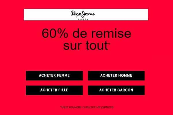 offre spéciale pepe jeans 60% de remise sur tout