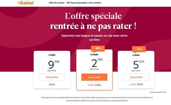 Offre spéciale rentrée Babbel : 40 %de réduction sur l'abonnement 1 an