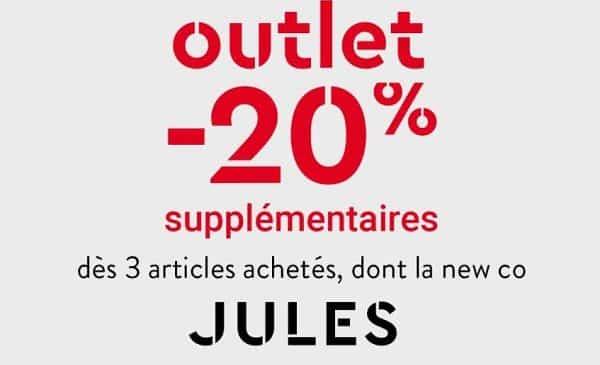 Outlet JULES : 20% supplémentaires dès 3 articles achetés