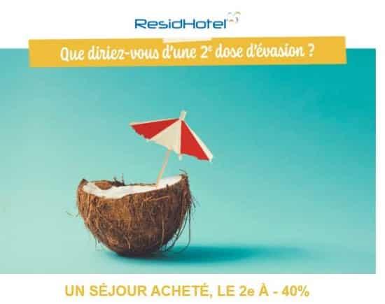 residhotel un séjour appart hôtel d'ici le 24 aout, votre second d'ici fin novembre à 40 %