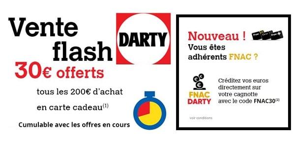 Vente Flash Darty : jusqu'à 90€ offerts en carte cadeau Darty ou crédit adhèrent Fnac