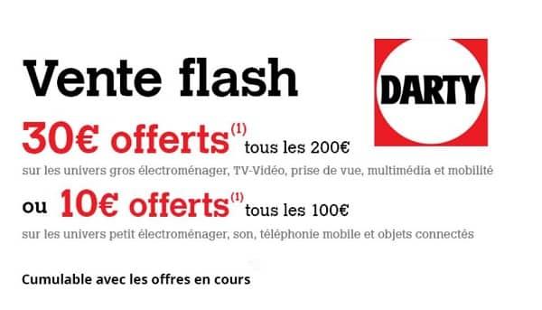 vente flash darty jusqu'à 90€ offerts en carte cadeau darty ou crédit adhèrent fnac