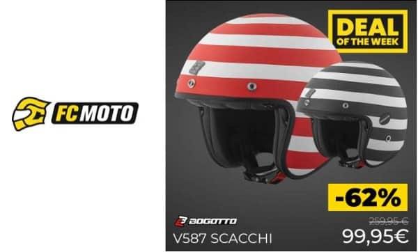 Vente flash : 99,95€ le casque jet carbone Bogotto V587 Scacchi sur FC Moto