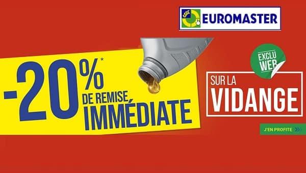 votre vidange auto moins cher avec actuellement 20% de remise immédiate sur la vidange chez euromaster