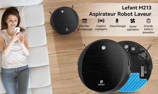 aspirateur laveur robot compact wifi lefant m213