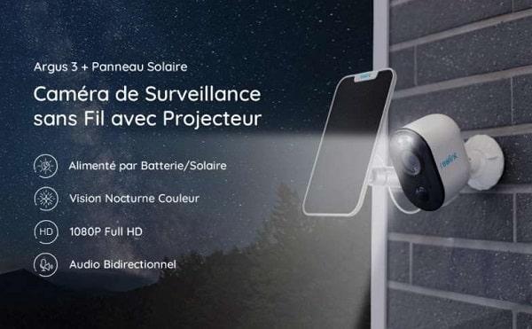caméra de surveillance extérieure autonome Reolink Argus 3 Wi-fi + panneau solaire