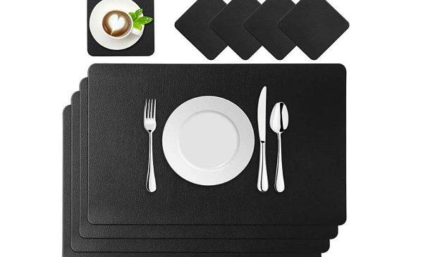 lot de 4 sets de table imitation cuir 45 x 30 cm+ 4 sous verre baownylz