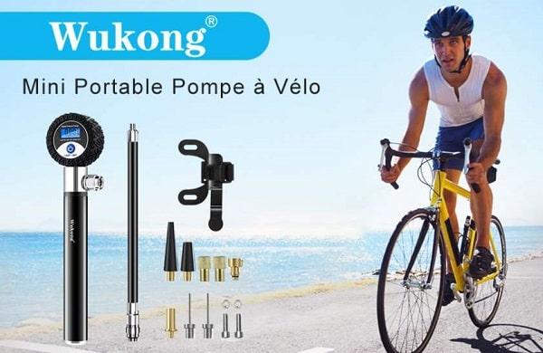 petite pompe à vélo en alu avec manomètre digital wukong