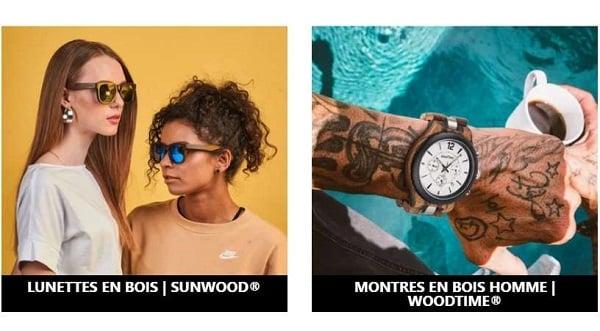 remise sur toutes les montres et des lunettes de soleil en bois woodtime et sunwood