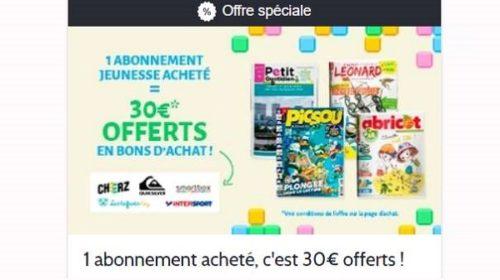 1 abonnement magazine jeunesse acheté = 30€ offerts en bon d'achat avec prismashop