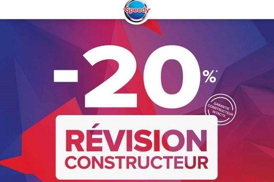 20% de remise immédiate sur la révision Constructeur sur Speedy