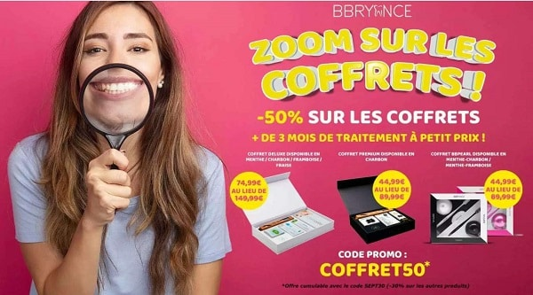 50% de remise sur tous les coffrets blanchiment des dents bbryance