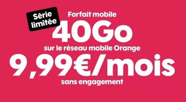 9,99€ le forfait série limitée sosh 40go appels et sms mms illimités