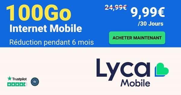 9,99€ le forfait lyca mobile xl 100go