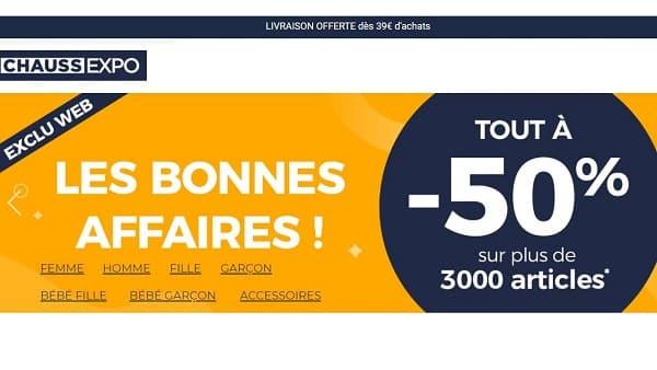 Bonnes Affaires ChaussExpo : -50% sur 2000 paires