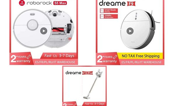 offres spéciales aspirateurs robot dreame f9 et roborock s5 max et aspirateurs 2 en 1 dreame v10 pro
