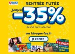 Rentrée Futée France Abonnement : 35% de remise (dès 50€ d'achat) ou 20% de remise pour toute commande d'abonnement magazine