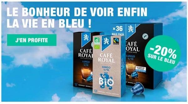 Semaine bleue Café Royal : 20 % de réduction sur tous les produits bleus (capsules compatibles Nespresso et dosettes Pro Lungo)