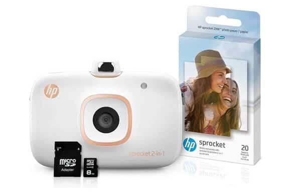 appareil photo instantané HP Sprocket 2en1 + MicroSD 8Go + 20 feuilles Zink Photo - RECONDITIONNÉ