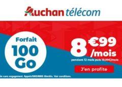 8,99€ forfait Auchan Telecom de 100Go avec les appels, SMS et MMS illimités (pendant 12 mois – sans engagement)
